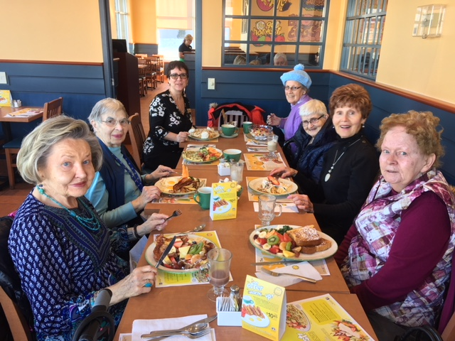A group of ladies enjoying breakfast together at Cora's.